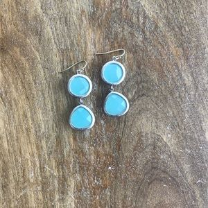 Anthropologie Silver & Blue Drop Earrings
